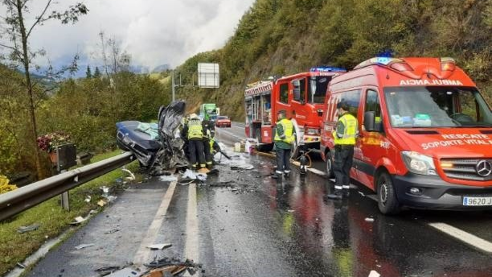 Accidente en la N-121, en Navarra. EFE.